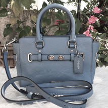 $375 COACH Mini Blake Carryall - bubble Leather - Dusk Blue Silver BRAND... - £140.89 GBP