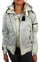 New Superdry Women's Premium Technical Zip Up Jacket Silver Removable Hood image 5