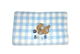 Just Born Puppy Dog Blue White Fleece Baby Boy Blanket Balls Brown Soft  - $19.35