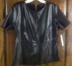 New Ladies Black Pleather Tee Petite Size Small By Khol's Apartment 9 - €27,59 EUR