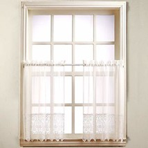 "No. 918 Joy Classic Lace Kitchen Curtain Tier Pair, 60"" x 36"", White - $11.89"