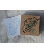 Car Shaped Rubber Stamp, sort of looks like a VW Bug or Compact Car - $2.99