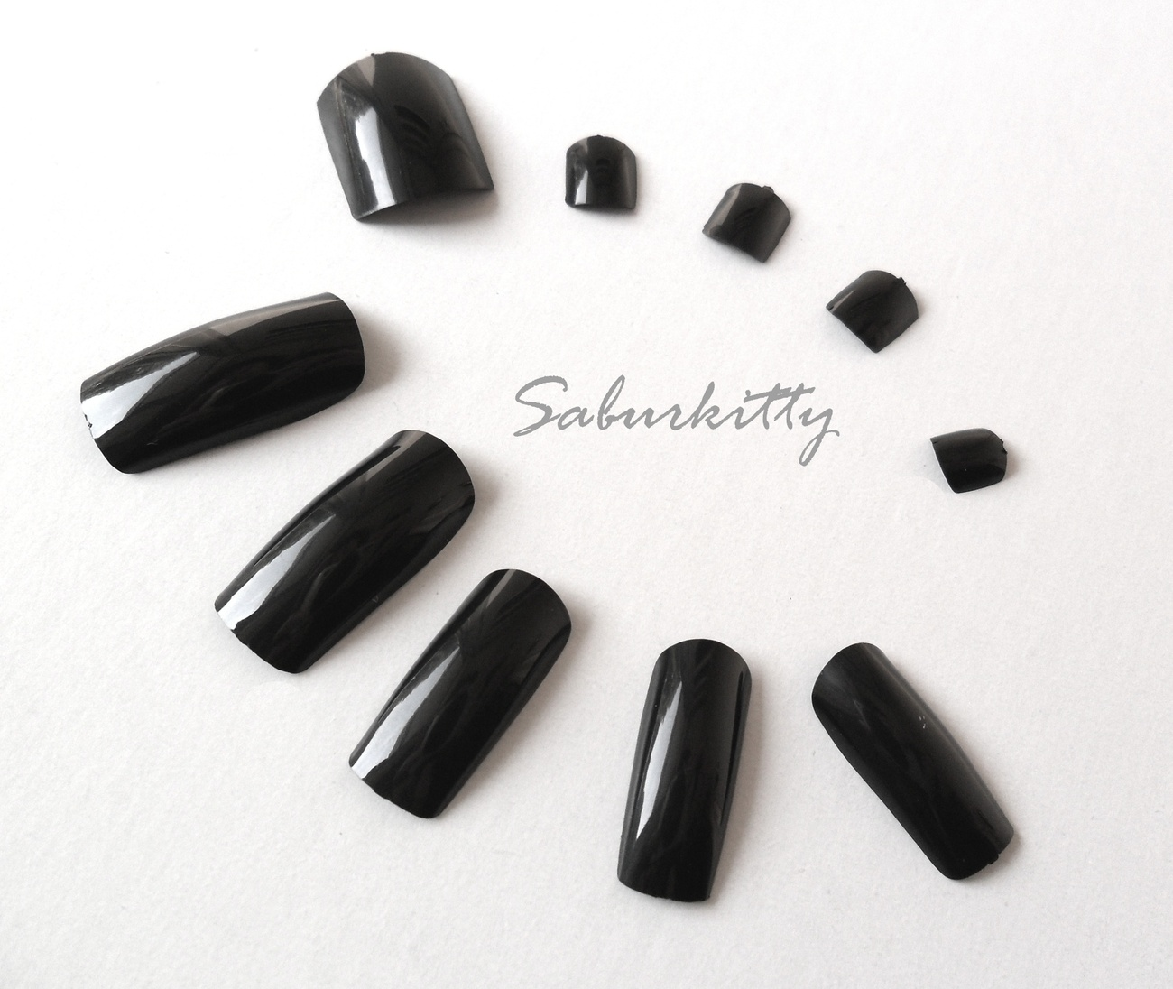 Black Fingernail plus Toenail Full Coverage Tips Set, Long Nails Halloween LARP