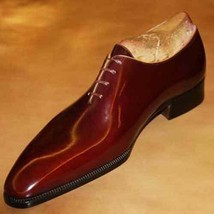 Handmade Men's Genuine Light Maroon Patent Leather Lace Up Whole-Cut Shoes - $144.99