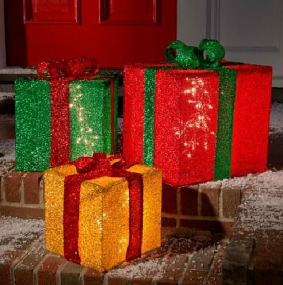 SET OF 3 Lighted Pre Lit BIG CHRISTMAS PRESENTS GIFTS