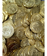 288 Gold Play Coins Treasure Birthday Party Favor Loot Golden Pirate Pin... - $7.95