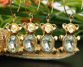 Vintage Trifari Teddy Bear Figural Earrings Charms Rhinestone Crystal - $27.95
