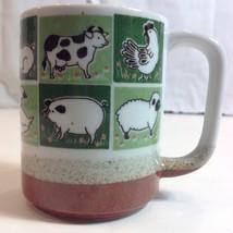 Otagiri Farm Animals Lamb Pig Cow Mug Chicken Bunny Green Brown Salt Glaze - $29.21