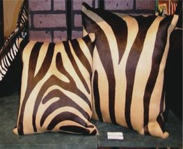 Zebra  Print Cowhide Pillow Brown and Beige - $99.00