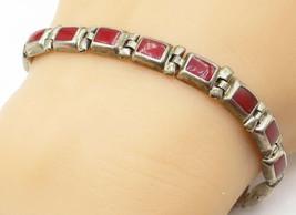 925 Sterling Silver - Vintage Red Carnelian Square Link Chain Bracelet -... - $42.27