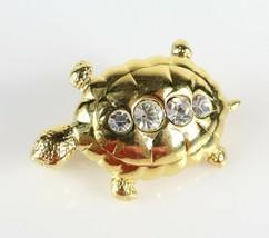 Signed Costume Fashion MONET Gold Tone Rhinestone Box Shell Turtle Brooc... - $8.90