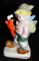 "Vtg Little Boy Hiking with Umbrella Miniature Porcelain 4"" Figure Figuri... - $2.71"