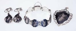 Gorgeous Sterling Silver Niello Jewelry Set (Earrings, Bracelet, Pendant) - $548.68