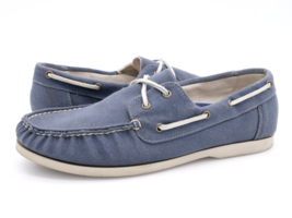 Cole Haan Mens 10M Blue Lace Up Moc Toe 2 Eye Casual Boat Shoes C12552 - $32.99
