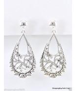 """Antique Silver Teardrop Clip on Earrings 2"""" Long Silver Metal Designer S... - $13.85"""