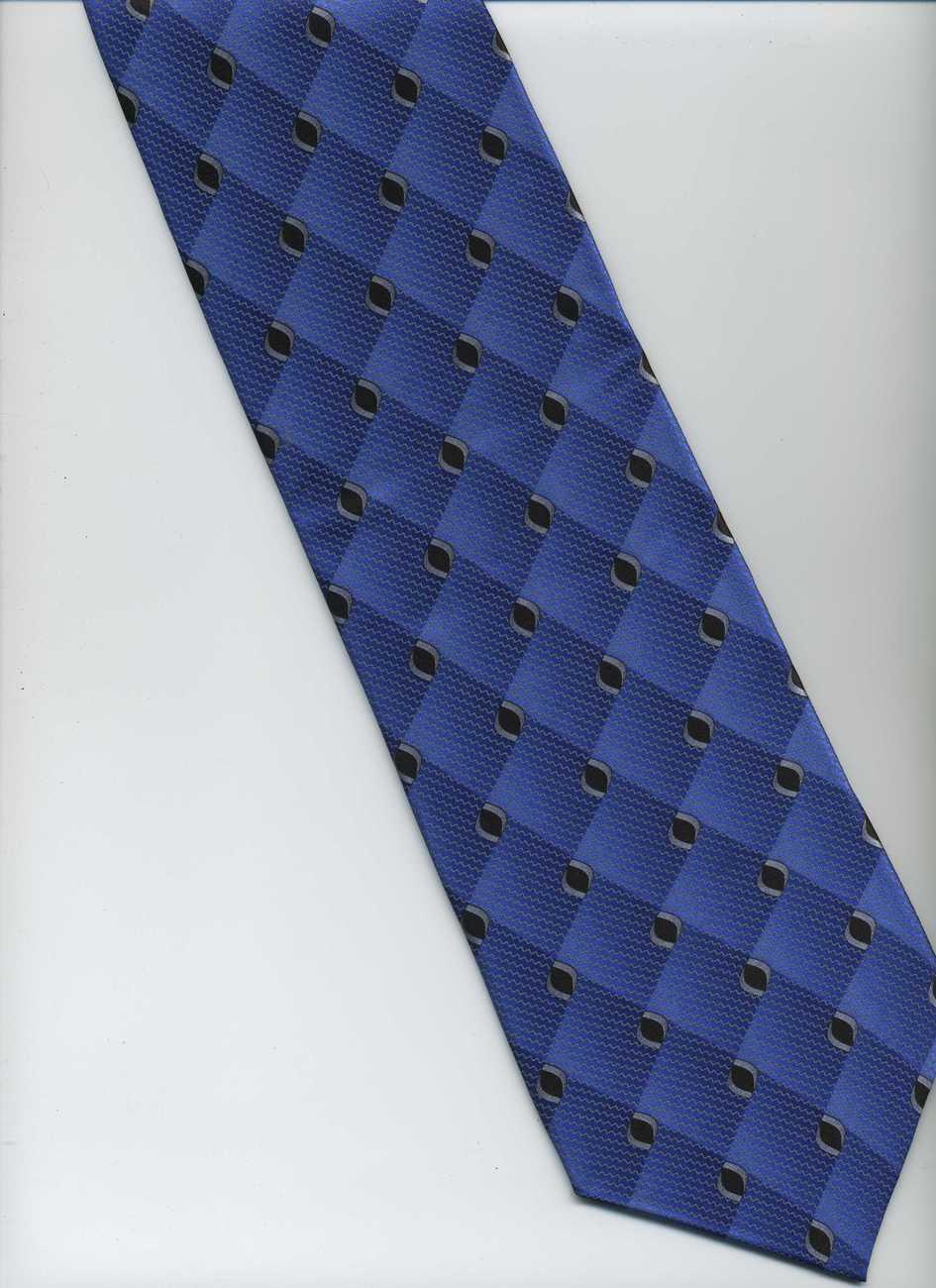 handmade zanzara tie blue black gray polka dots