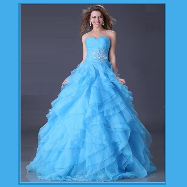 Blue Red or Yellow Bare Shoulders Strapless Organza Lace Princess Ball Prom Gown