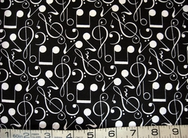 1/2 yd music/white notes/clefs/symbols/black quilt fabric -free shipping