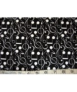 1/2 yd music/white notes/clefs/symbols/black quilt fabric -free shipping - $8.99