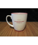 2008 Starbucks White with Red Abbey Logo Coffee Mug Tea Cup Large 16 Oz ... - $19.99