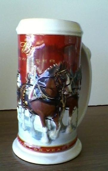 Primary image for Beer Stein Beer Mug 25th Anniversary Budweiser Beer Clydesdales Christmas Mug NB
