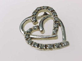 DOUBLE HEARTS PENDANT - Sterling Silver and Cubic Zirconia - Very Sweet - $23.00