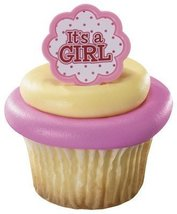 It's a Girl Pink Baby Shower Cupcake Rings - (24-Pack) - $6.78