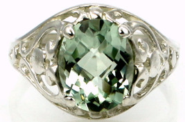 SR004, Green Amethyst, 925 Sterling Silver Ring - £46.09 GBP