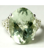 SR049, 16x12mm, 12ct  Green Amethyst, 925 Sterling Silver Ring - $191.29