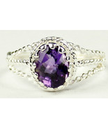SR070, 9x7mm Amethyst, 925 Sterling Silver Ring - $69.33