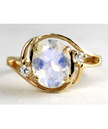 R021, Rainbow Moonstone, 10KY Gold Ring - $403.56