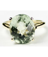 R055, 12x10mm Green Amethyst Prasiolite, 10Ky Gold Ring - $373.63