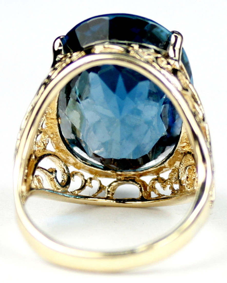 R291, London Blue Topaz, 10KY Gold Ring