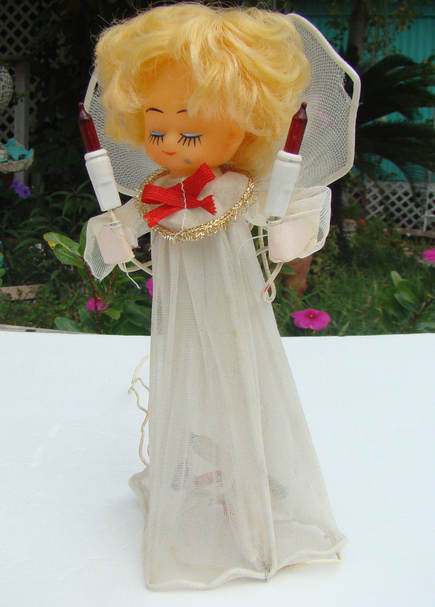Vintage Christmas Light Up Tree Topper Angel Fast Free Shipping