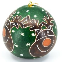 Handcrafted Carved Gourd Art Green Rudolph Reindeer Holiday Ornament Made Peru image 2