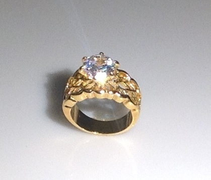 Engagement Ring Solitaire with Filigree Band  Size 8