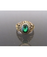Vintage 1983s 10K Sold YG Emerald Cabochon Ladies Class Ring Size 6  - $390.00