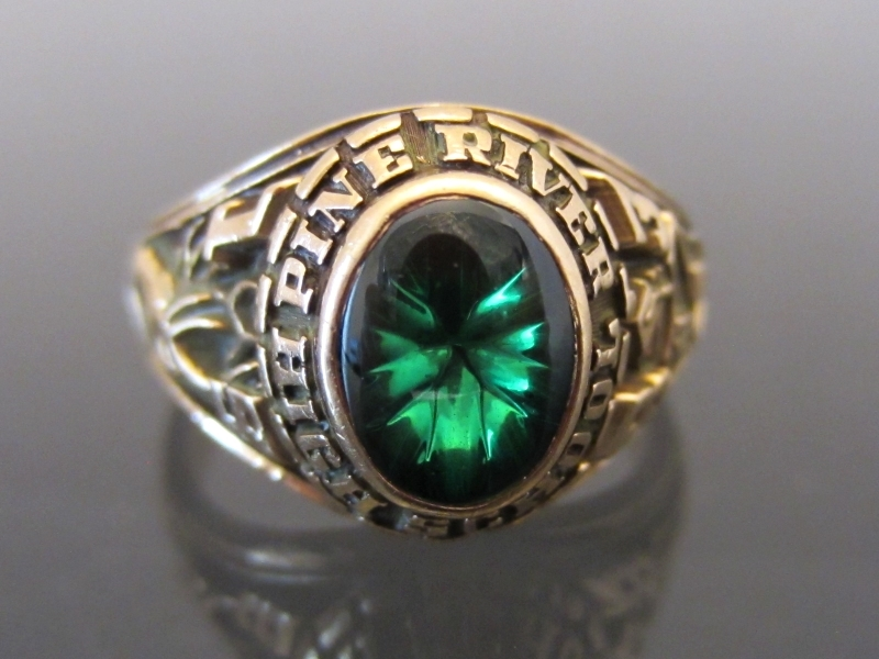 Vintage 1983s 10K Sold YG Emerald Cabochon Ladies Class Ring Size 6
