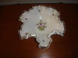 "Fenton Hand Painted Violets In The Snow 6"" Double Crimped Bon Bon Dish - $23.99"