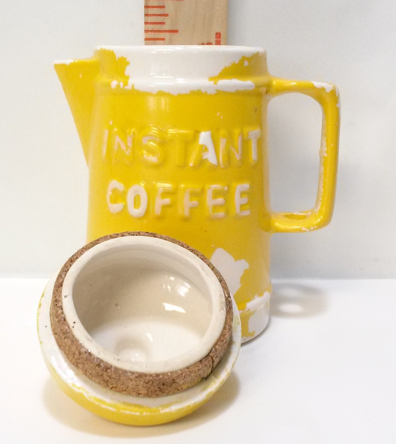 Vintage Ceramic Coffee Pot Instant Coffee Canister Yellow Cold Paint