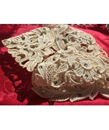 Antique Victorian Lace Collar and Cuff Set Ornate Studded Pearls & Rhine... - $49.99
