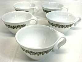 Vintage Lot of 5 Cups Corning Ware Corelle  Green Crazy Daisy Hook Handles  - $14.84