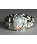 SR168, Created White Opal, 925 Sterling Silver Men's Ring - $63.49