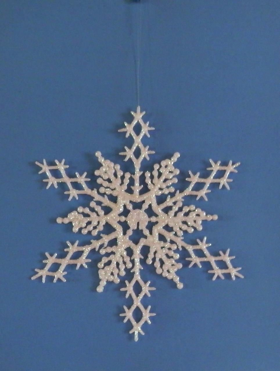 "6 pc. AURORA BOREALIS 6.5"" Glittered Plastic Snowflake Ornaments"