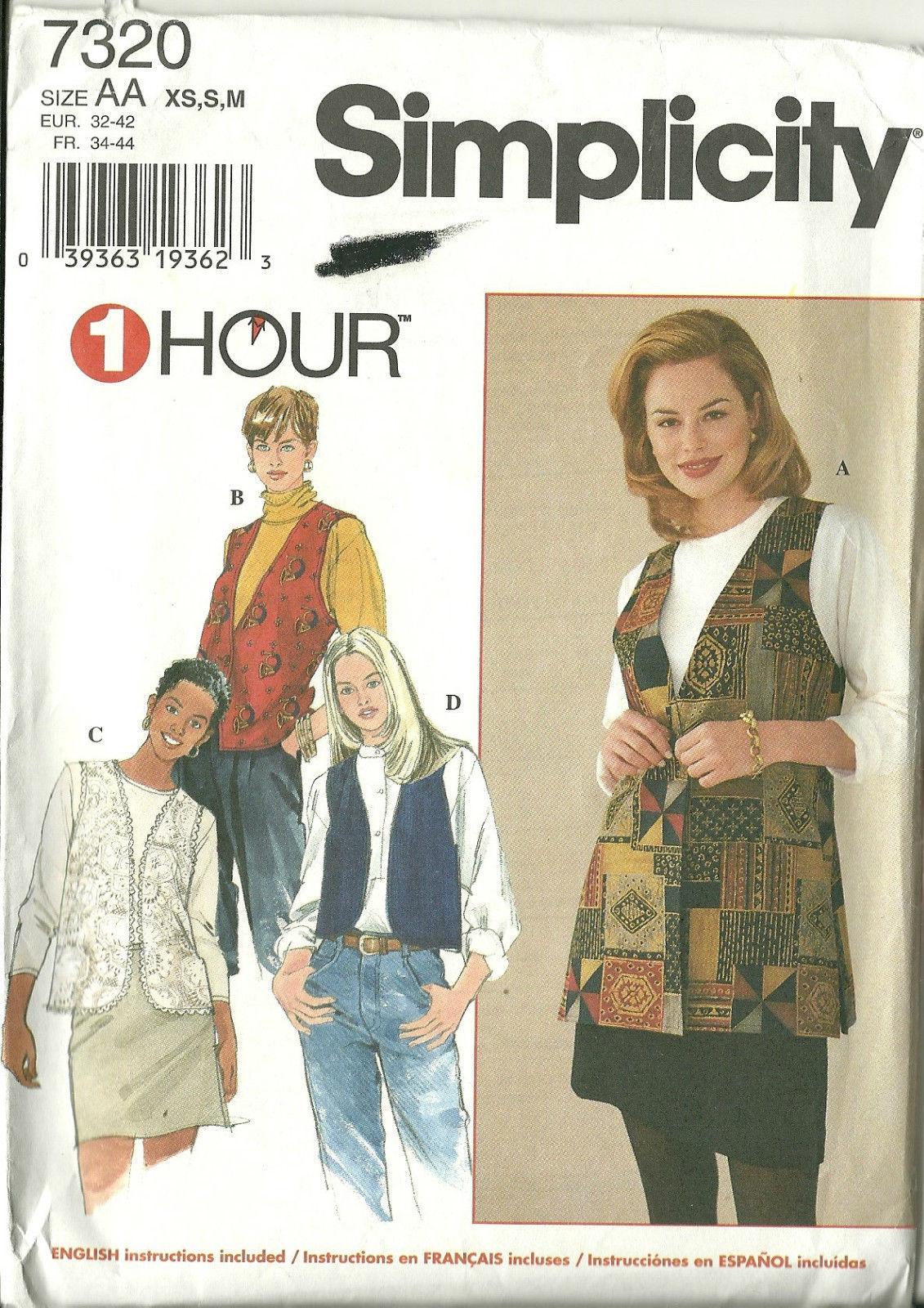 Simplicity Sewing Pattern 7320 Misses Womens Vest Size XS S M New Uncut