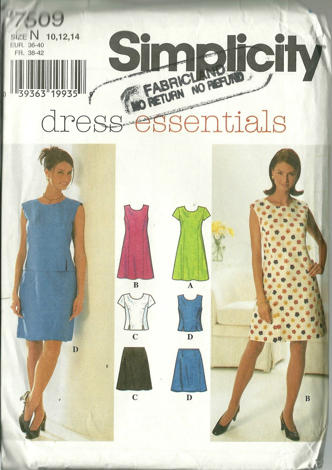 Simplicity Sewing Pattern 7509 Misses Womens Dress Skirt Top Size 10 12 14 New