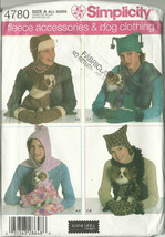 Simplicity Sewing Pattern 4780 Misses Womens Fleece Accessories Dog Clot... - $9.98