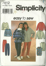 Simplicity Sewing Pattern 7812 Girls Jacket Vest Top Pants Size 7 8 10 New  - $9.98