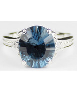 SR136, 4.5 cts Quantum Cut London Blue Topaz, 925 Sterling Silver Ring - $121.25