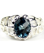 SR168, London Blue Topaz, 925 Sterling Silver Men's Ring - $110.57